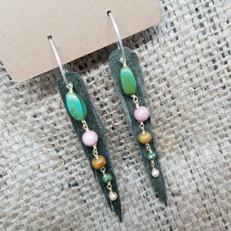 Olive Green Short Nymph Earrings with Gems   upcycled leather jewelry, made in Mt. Shasta, made in California, made in USA   faerwear