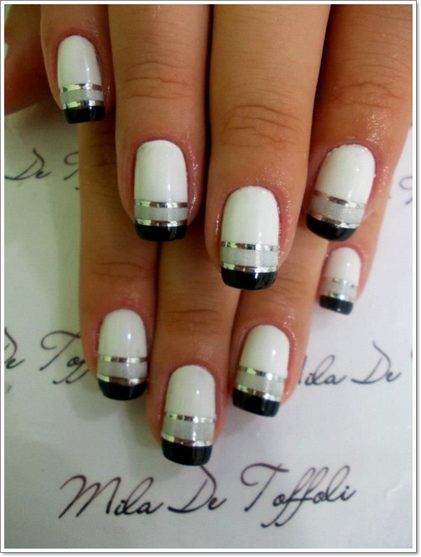 Cute Black And Pink Gel Nail Design Nails Designs Ideas