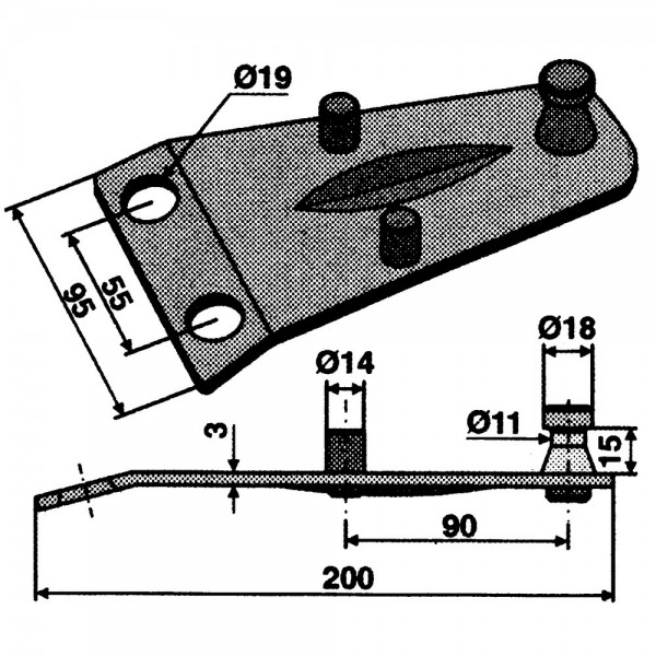 Klingenhalter passend zu Deutz-Fahr, Fort, Kuhn; Pöttinger