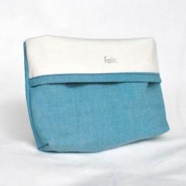 Fair - pochette bleue turquoise en coton bio taille M