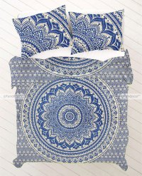 Royal Blue Gold Ombre Bedding Bohemian Bed Set
