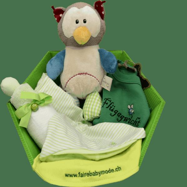 Baby Geschenkkorb grün eule