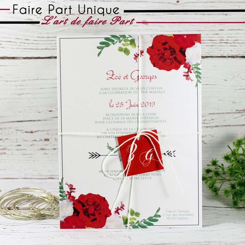 faire part mariage theme champetre rouge