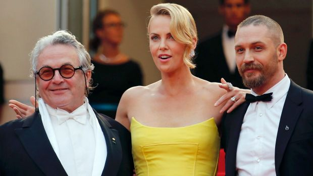 George Miller, Charlize Theron and Tom Hardy at Fury Road's premiere at the 68th Cannes Film Festival in 2015.