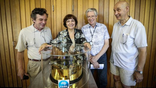 Leading CSIRO scientists who helped to develop some of the LIGO detection equipment (from left) Anatoli Chtanov and his ...