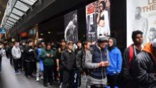 People line up for limited edition runners. Opening of Foot Locker, Bourke st Mall Melbourne. Runners, Speakers , ...