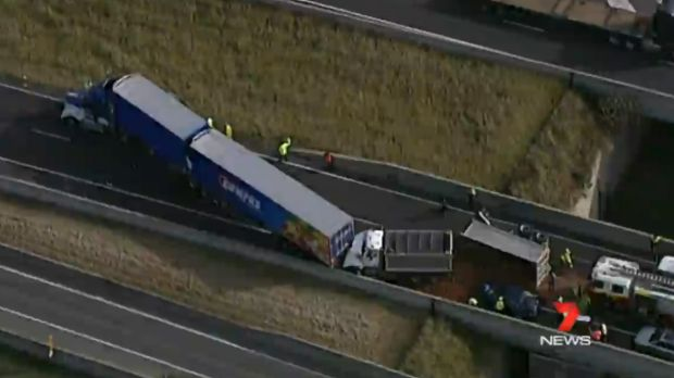 A multi-truck crash closed southbound lanes on M7 at Eastern Creek in July.
