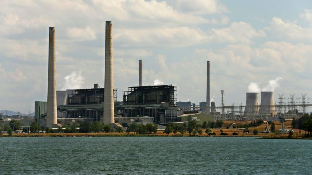 AGL Energy's Liddell power plant, with Lake Liddell in the foreground, and Bayswater power plant behind.