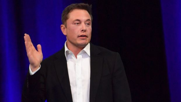 Tesla CEO Elon Musk is seen delivering a presentation at the International Astronautical Congress in Adelaide.