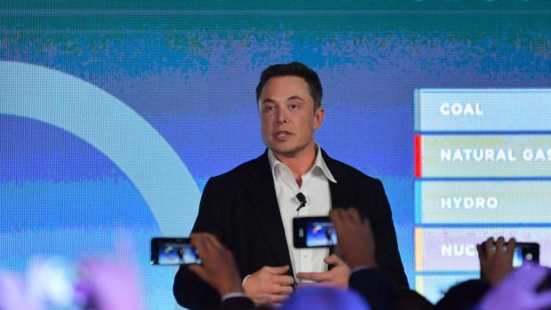 CEO of Tesla, Elon Musk is seen delivering speech at the wind and solar battery plant outside of Jamestown, South ...