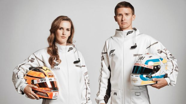 Professional driver Chelsea Angelo, and Porsche junior driver Matt Campbell, in Forza onesies.