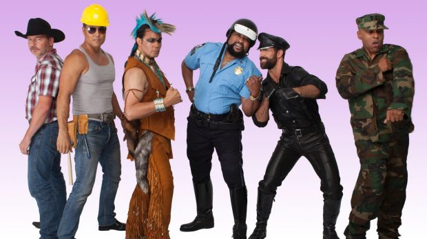 The all-new Village People line-up led by Victor Willis (blue shirt), who left the group in 1979 but has now reclaimed ...