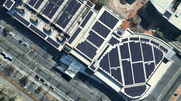 The Canberra Convention Centre covered in solar panels.