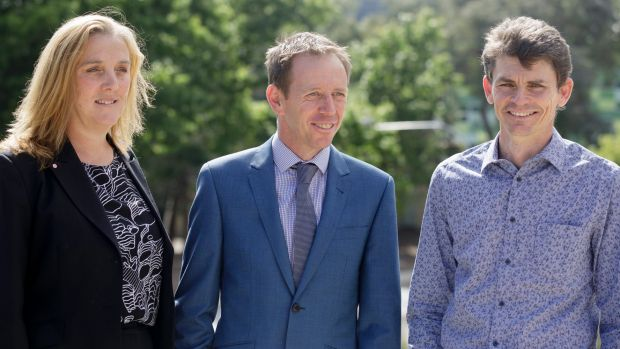Chair of the Australian photovoltaic institute Renate Egan, ACT minister for climate change and sustainability Shane ...
