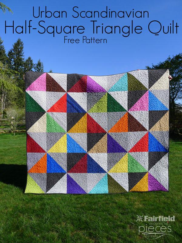 Urban Scandinavian Modern HalfSquare Triangle Quilt
