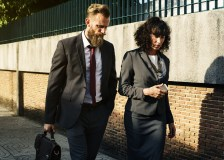 business partner walking