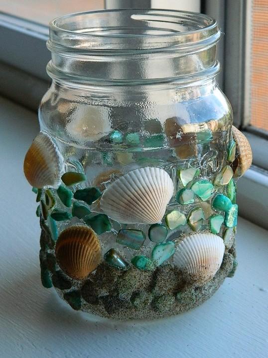 Seashell Mosaic Votive Holder