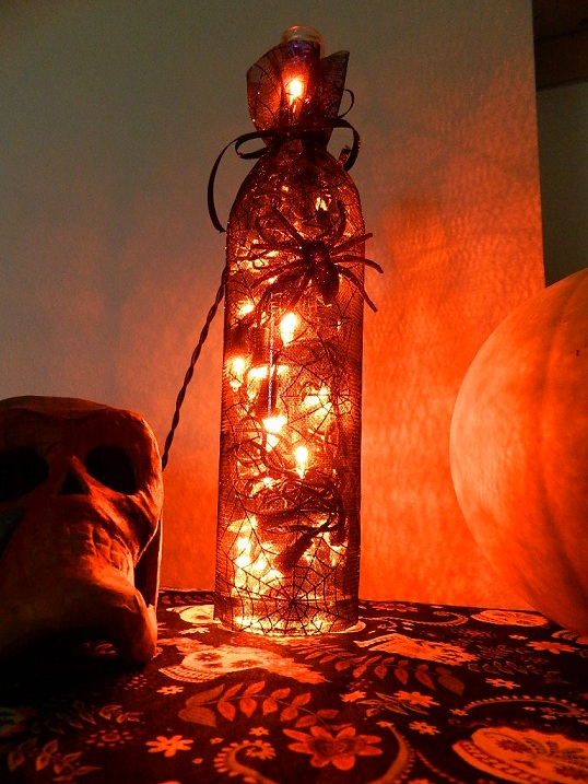 Halloween Wine Bottle Lamp