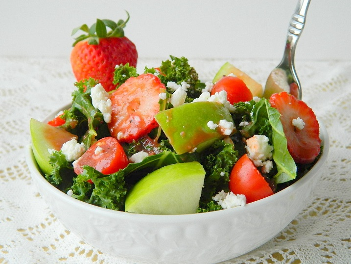 Kale and Green Apple Salad with Zesty Strawberry Vinaigrette