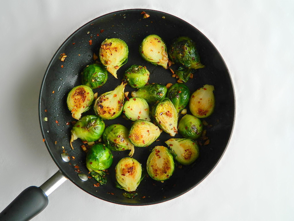 Spicy Garlic Brussels Sprouts
