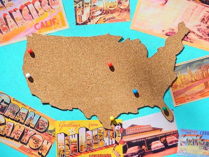 Cork Board Map Canvas Wall Art