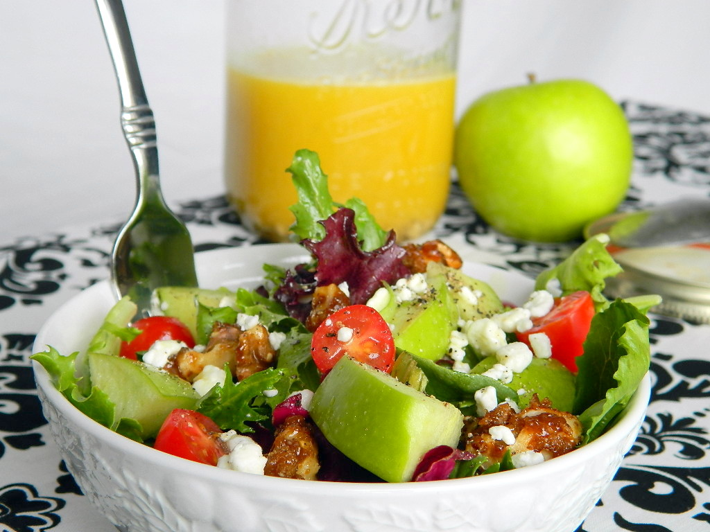 Mixed Greens Salad with Apple Cider Vinaigrette and Candied Walnuts
