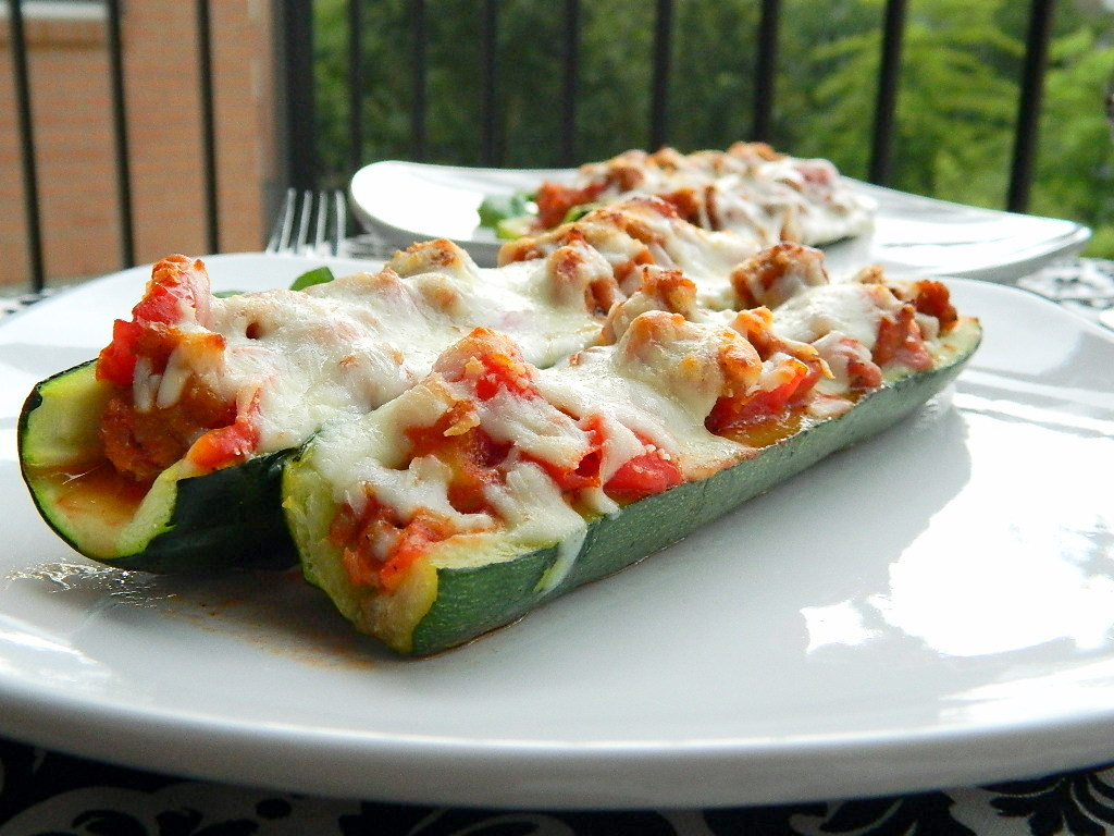 Roasted Zucchini Pizza Boats