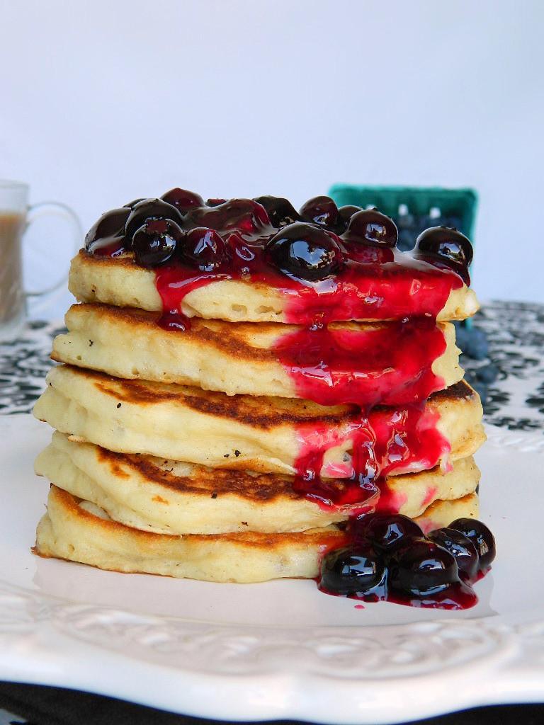 Tattooed Martha - Fluffy Buttermilk Pancakes with Homemade Blueberry Sauce (10)
