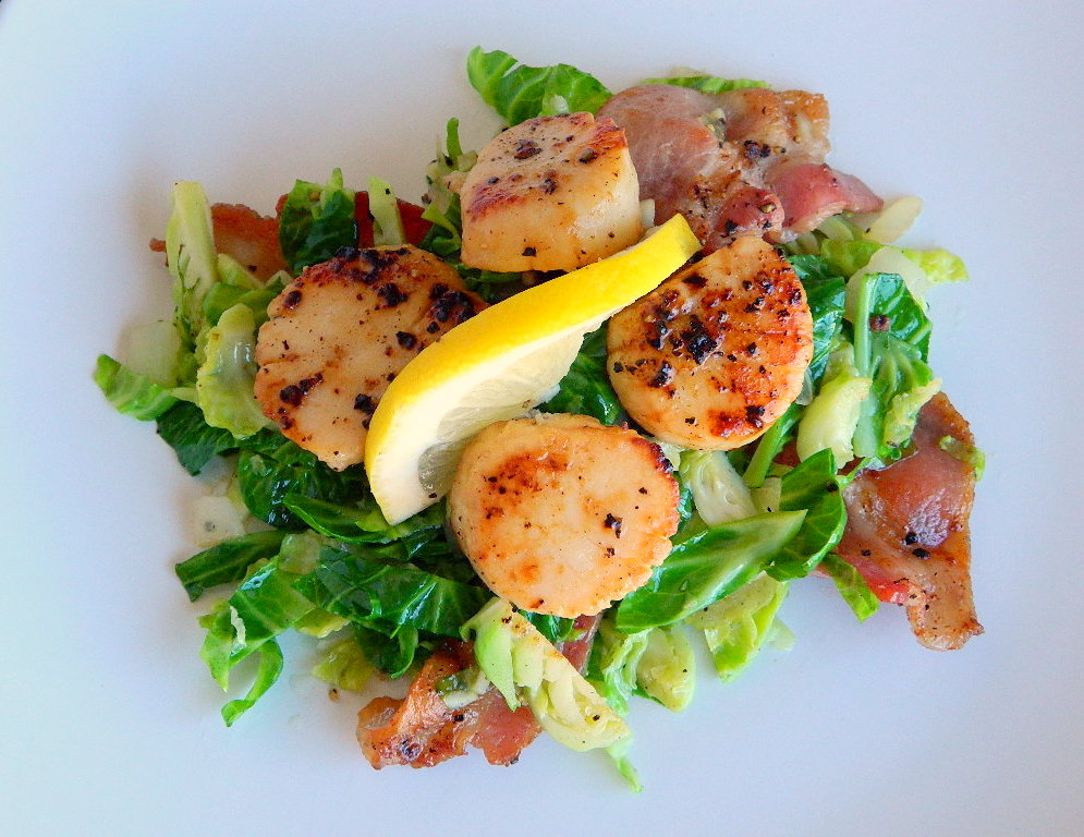 Lemon Butter Scallops with Brussels Sprouts and Bacon