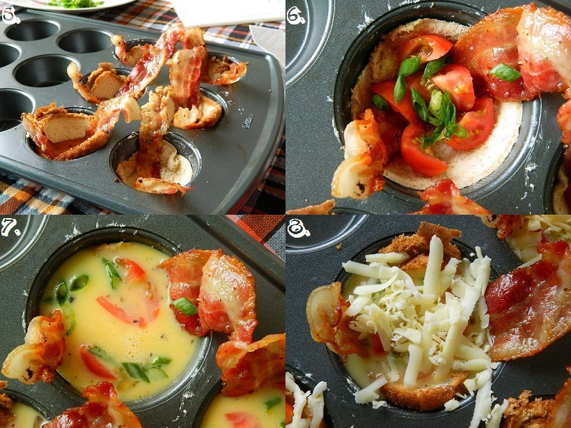 Tattooed Martha - Bacon and Veggie Omelet Toast Cups (4)