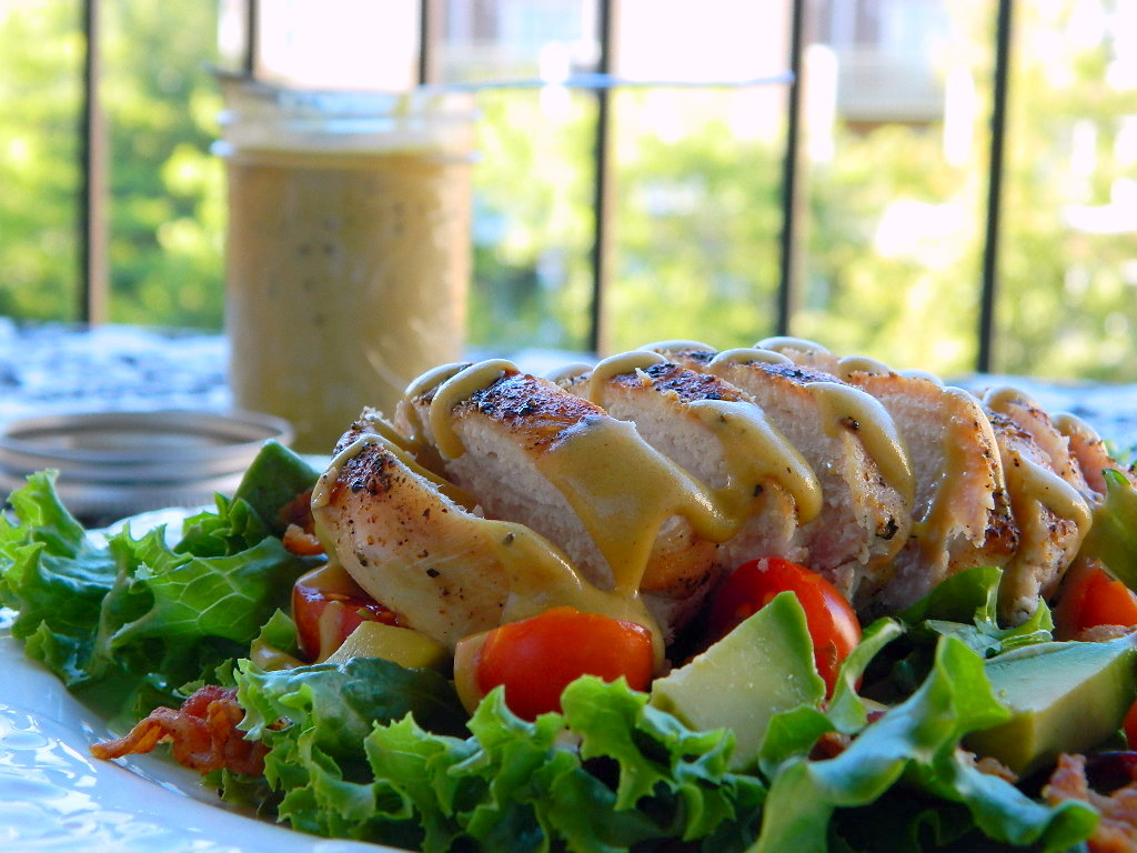 Grilled Chicken Salad with Tangy Honey Mustard Dressing