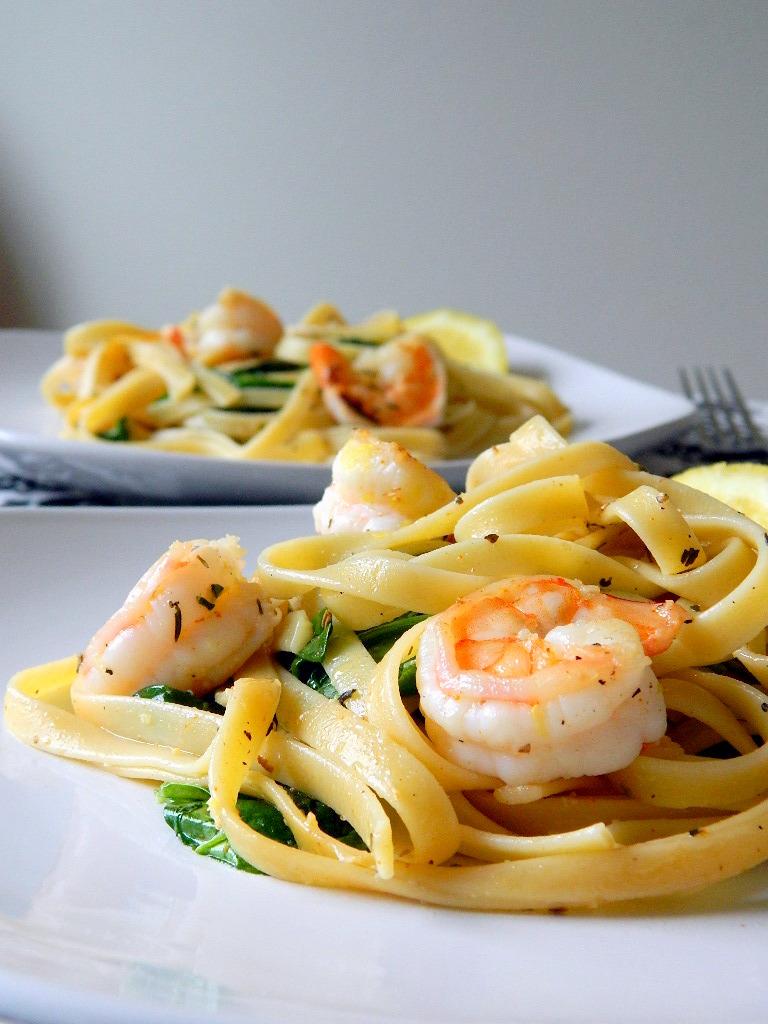 Lemon Shrimp and Spinach Fettuccine