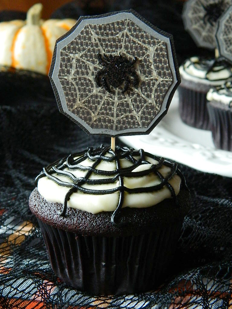 Purple Velvet Spiderweb Cupcakes with Cream Cheese Frosting