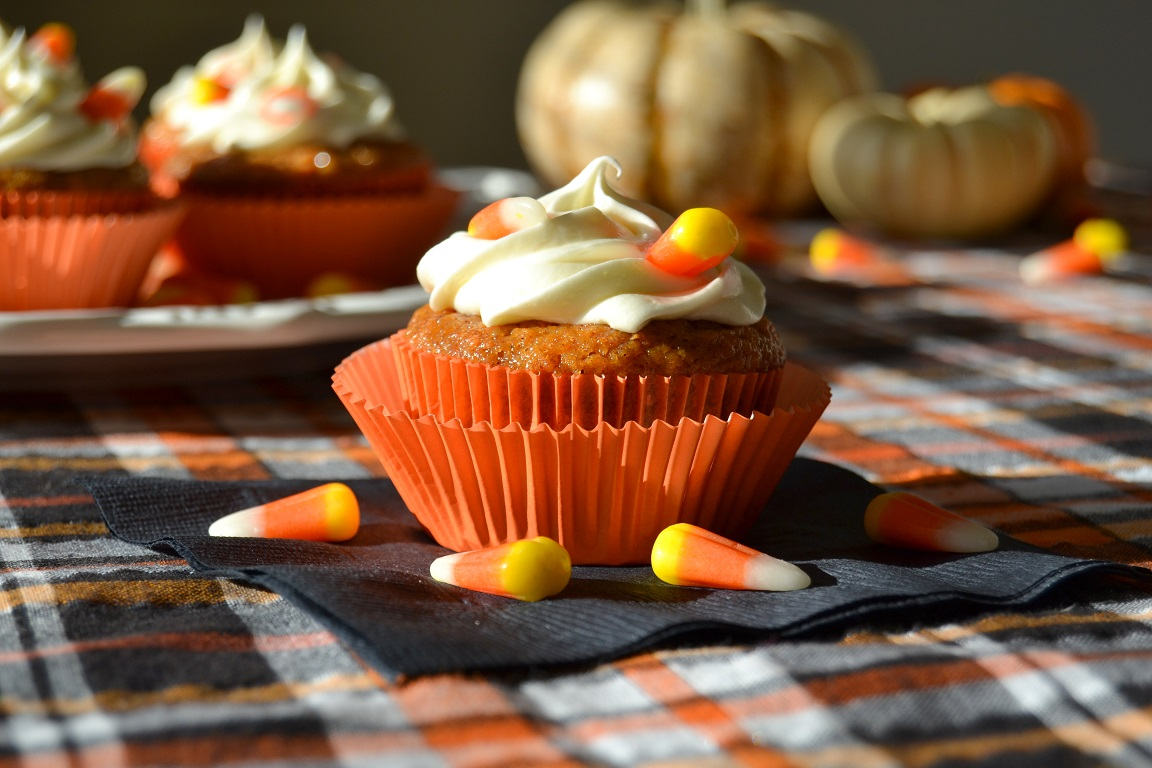 Carrot Cake Cupcakes with Candy Corn Cream Cheese Frosting