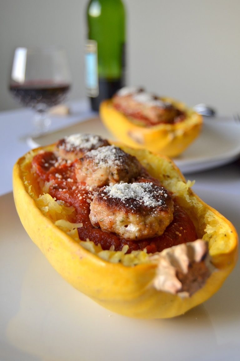 Roasted Spaghetti Squash with Turkey Meatballs