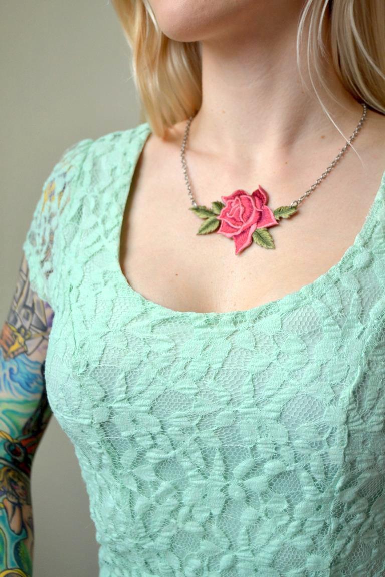Tattooed Martha - Rose Patch Necklace (7)