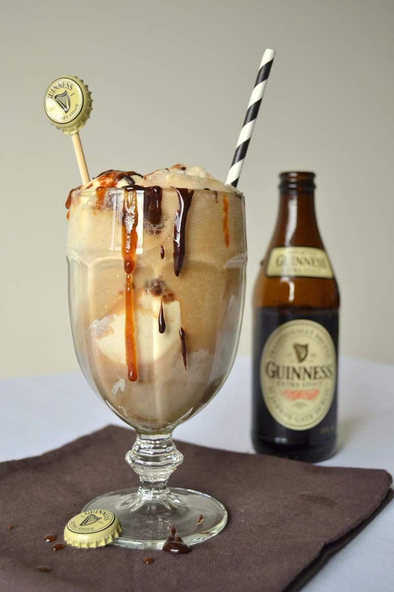 Guinness Float with Boozy Chocolate & Caramel Sauce