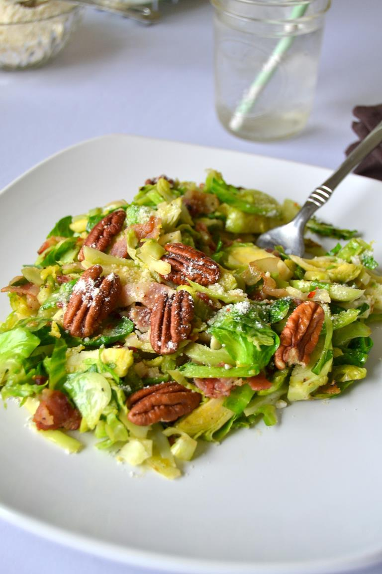 Warm Brussels Sprouts Salad with Bacon and Lemon Dressing