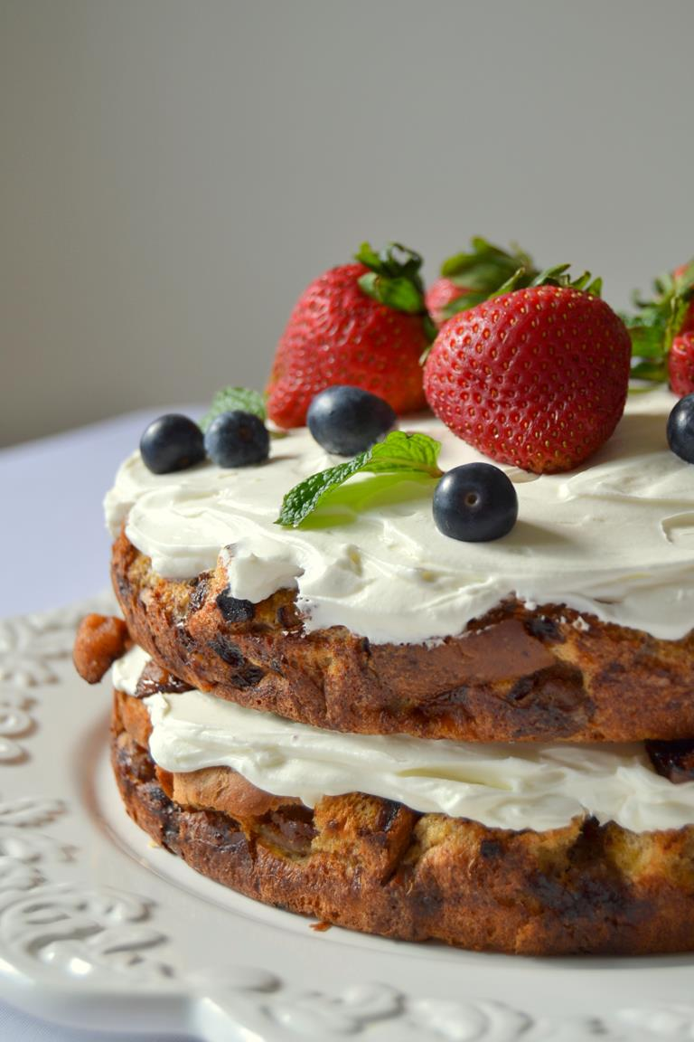 French Toast Layer Cake with Candied Bacon and Whipped Cream Frosting