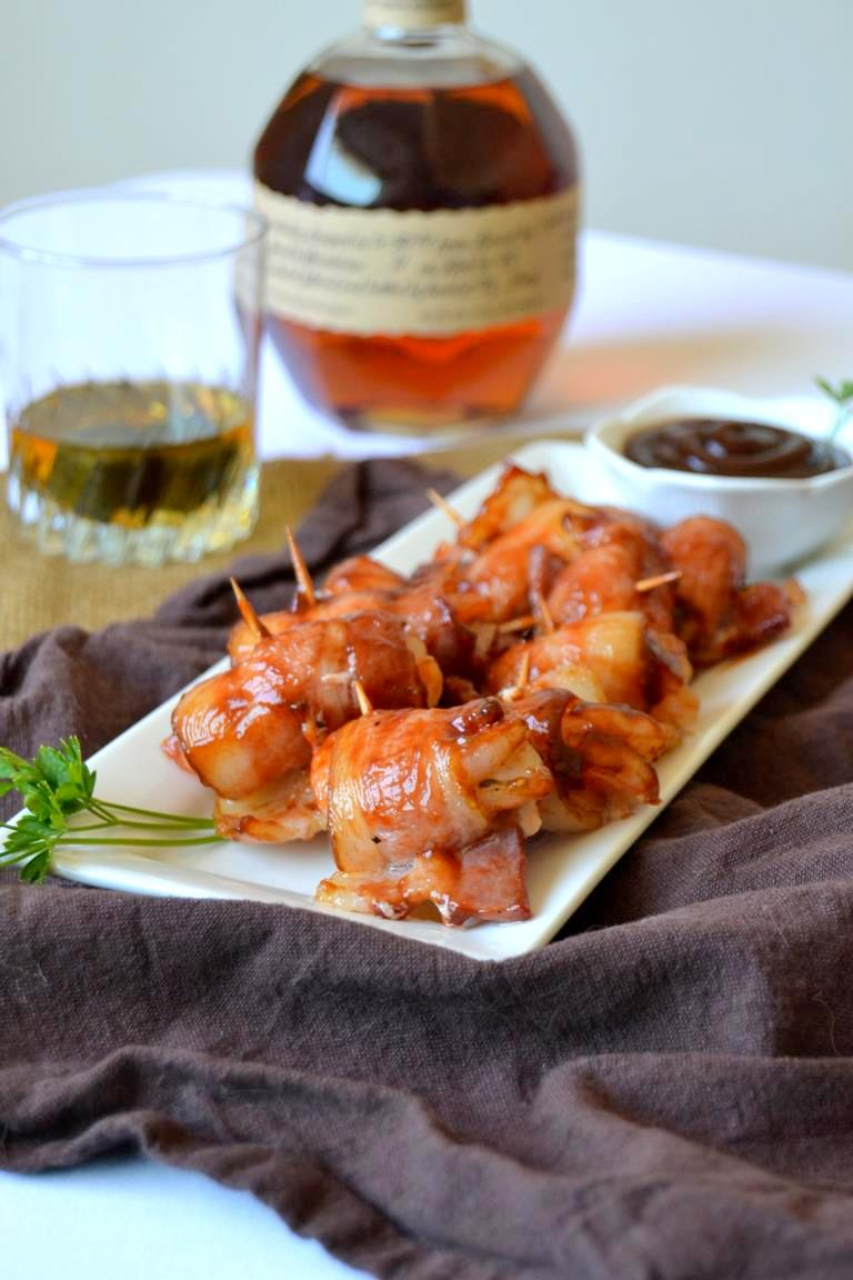 Bourbon and BBQ Bacon Wrapped Shrimp