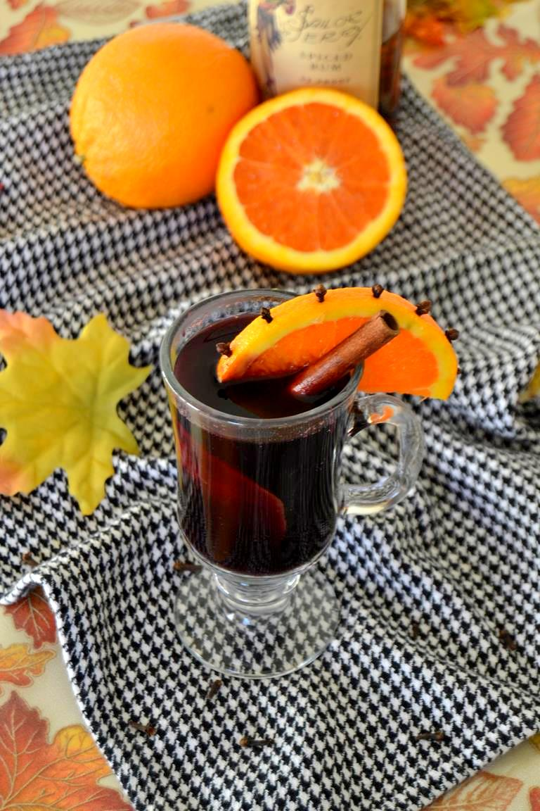 Mulled Wine with Cinnamon Infused Rum