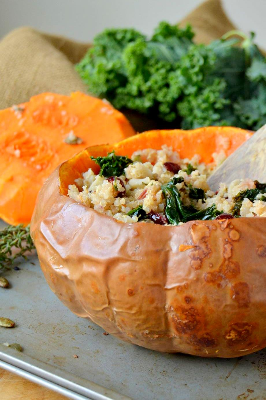Quinoa Cranberry Stuffing in Butterkin Squash