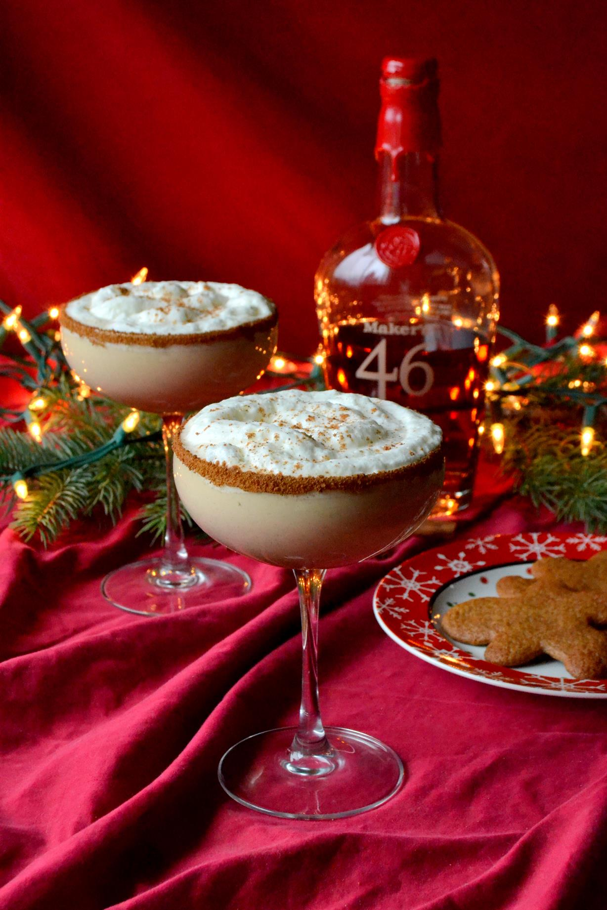Bourbon Spiked Gingerbread Eggnog with Whipped Egg Whites