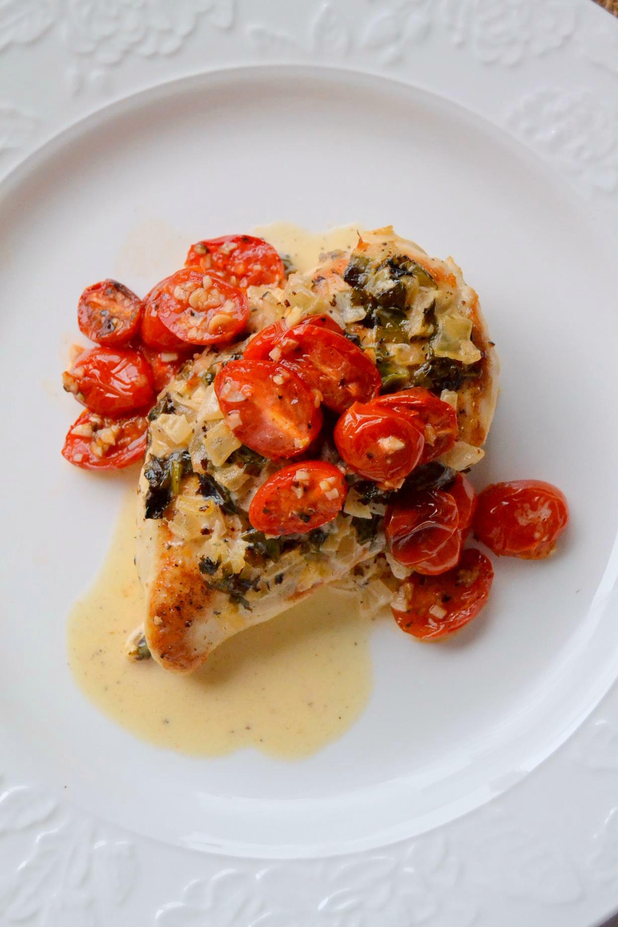Chicken in Basil Cream Sauce with Roasted Tomatoes