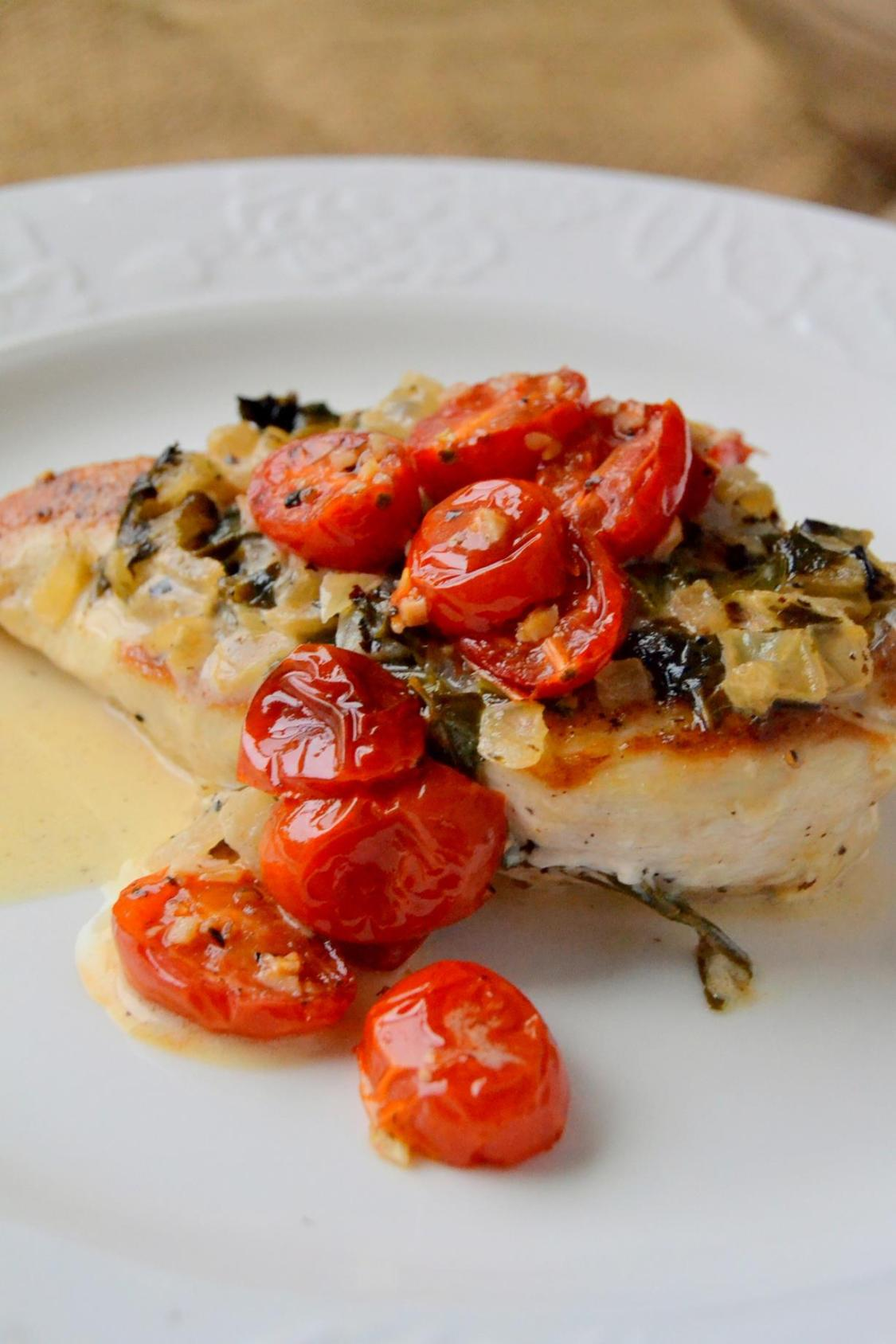 Tattooed Martha - Chicken in Basil Cream Sauce with Roasted Tomatoes (7)