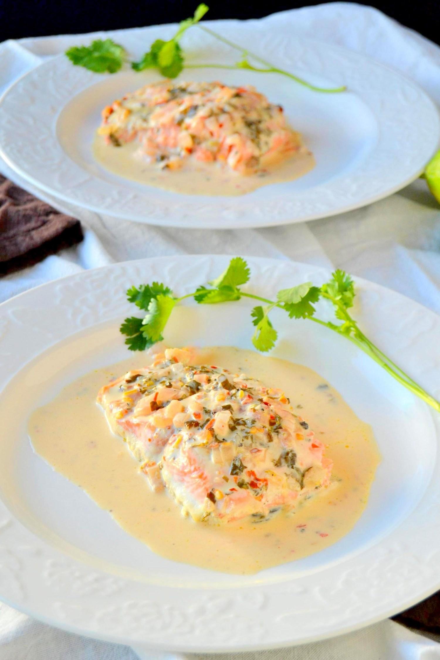 Salmon in Cilantro Lime Cream Sauce