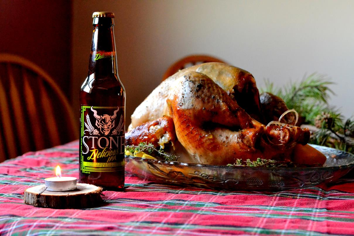 Stone Delicious IPA Glazed Lemon and Herb Turkey