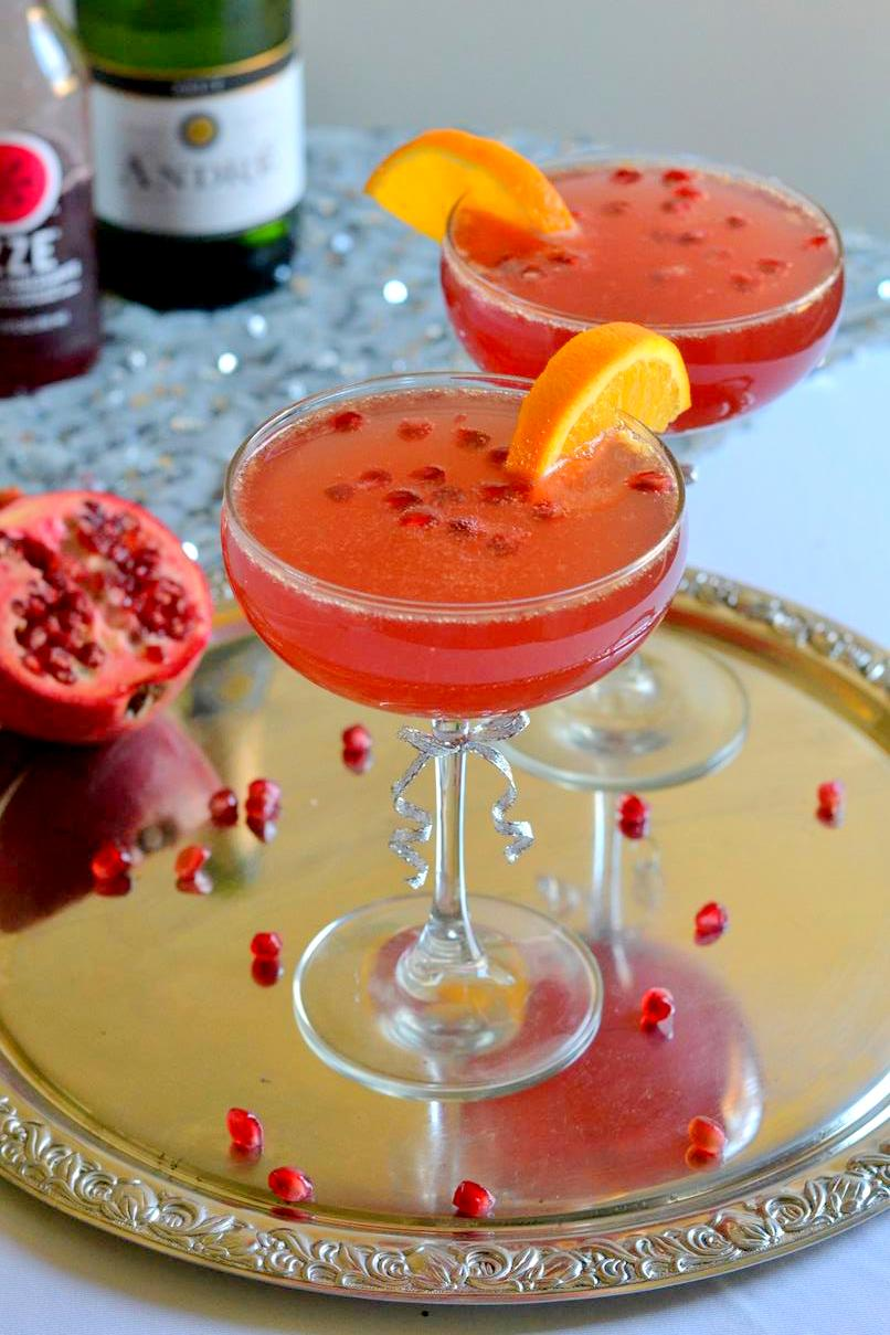 Pomegranate Citrus Champagne Cocktail