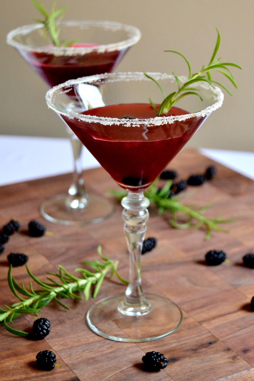 Mulberry Martinis with Homemade Simple Syrup