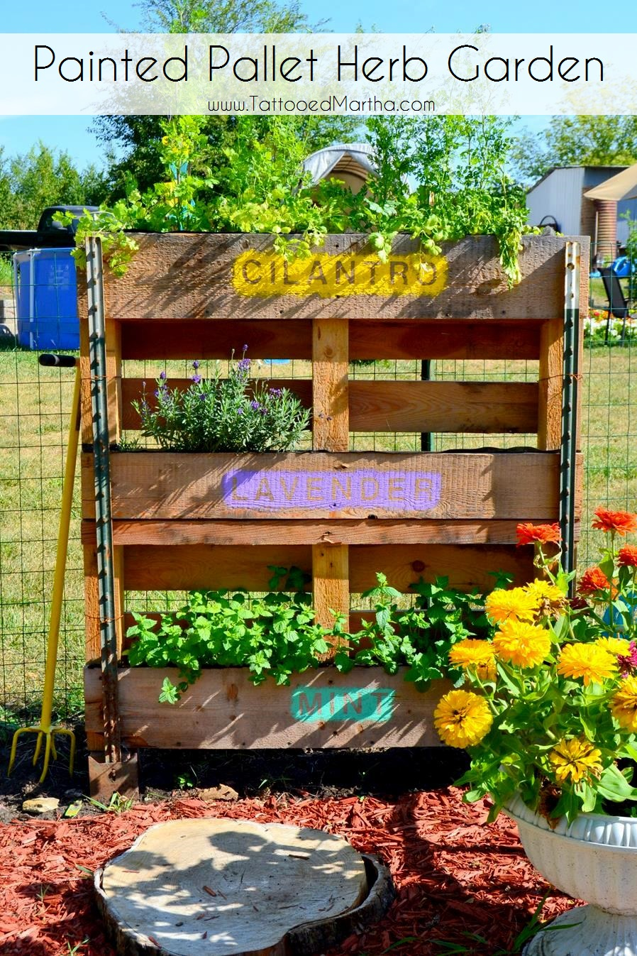 Painted Pallet Herb Garden